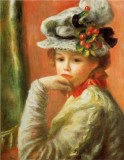 Young Girl Seated with a White Hat