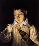 A Boy blowing on an Ember to light a Candle (Soplon)