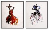 Fashion Collection 005: set of 2 - 30x40 inches each