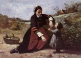 Breton Woman With Her Little Girl