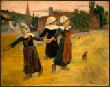 Breton Girls Dancing Around in the Haystacks