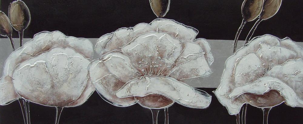 Fiori Bianchi Dipinti.Panoramic Abstract Oil Painting 0646