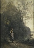 Peasant Woman Pasturing a Cow on the Edge of a Wood