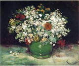 Vase with Zinnias and other Flowers