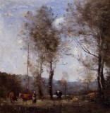 Cowherd in a Clearing near a Pond